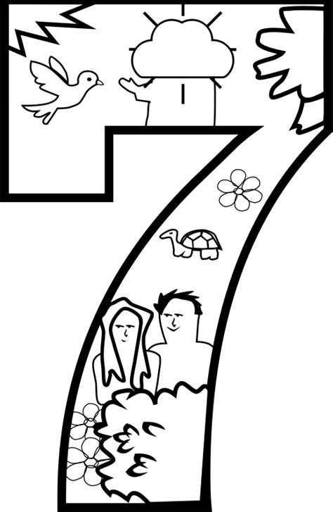 Creation Coloring Pages Day 1 by Clipart Creation Day 7 Coloring Page