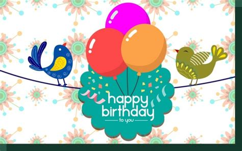 Birthday Card Template Colorful Birds And Balloons Decoration Free Vector In Adobe Illustrator Birthday Card Powerpoint Template