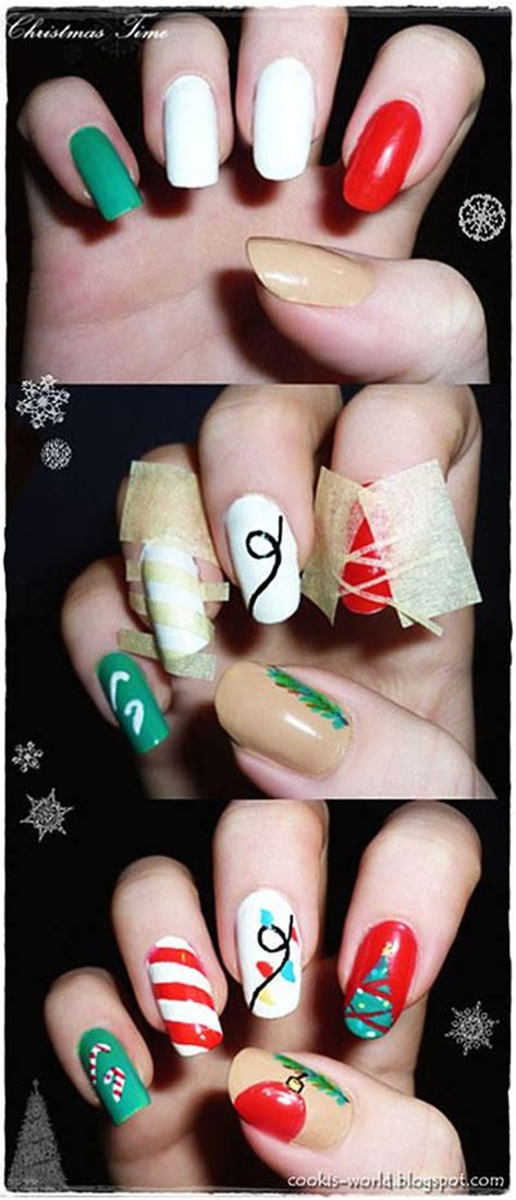 easy nail art for xmas 11 diy easy christmas nail art tutorial 2018 uk