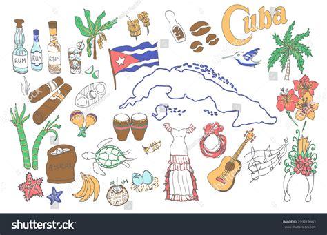 doodle salsa set cuba icons cuban stock vector 299219663