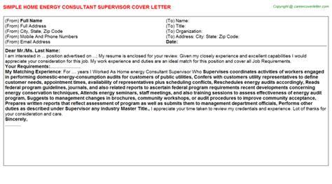 Energy Adviser Cover Letter by Home Energy Consultant Supervisor Cover Letter Sle