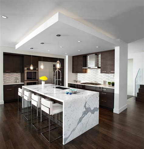 modern kitchen islands kitchen waterfall island modern kitchen vancouver by meister construction ltd