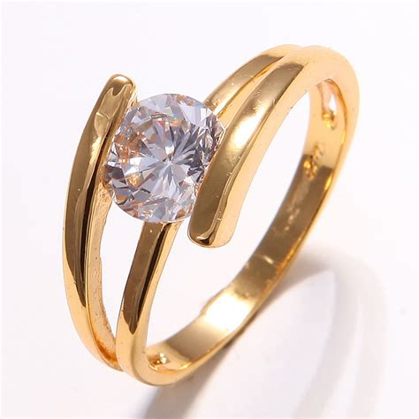 wholesale price  yellow gold filled womens white sapphire wedding