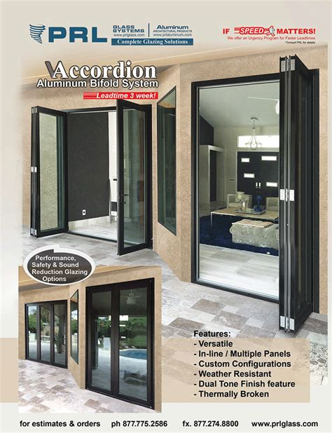 prl glass and aluminum bi fold accordion doors