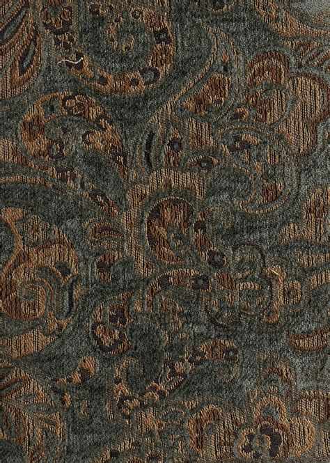 Fabric For Drapes And Upholstery by Blue Gold Paisley Pattern Chenille Upholstery Fabric