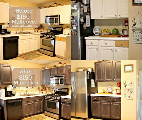 makeover kitchen cabinets frugal kitchen cabinet makeover the happy