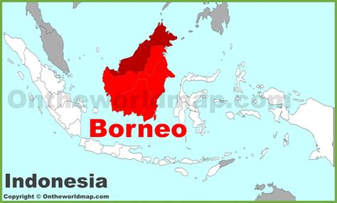 Borneo Indonesia borneo location on the indonesia map