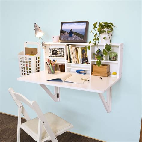 Wall Mounted Folding Desk by Sobuy Folding Wall Mounted Drop Leaf Table Desk With
