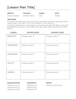 how to make a lesson plan template in word lesson plan