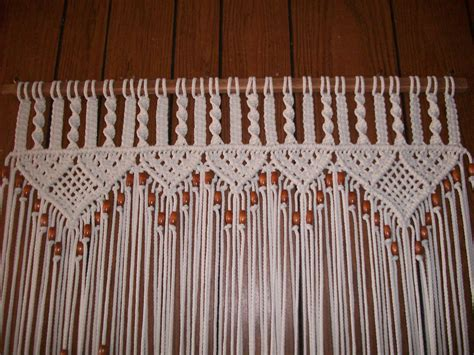 Macrame Rope Patterns - neutral cotton rope curtain in macrame bead fringed