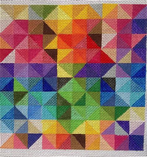 Geometric Designs Needlepoint   beautiful hand painted hp geometric needlepoint canvas 18