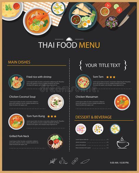 menu design eps thai food restaurant menu template flat design stock