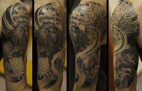 quarter sleeve lion tattoo lion halfsleeve by strangeris on deviantart