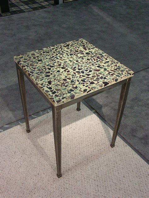 Pedestal End Tables Terrazzo End Table Forged Steel Base Paradox Art