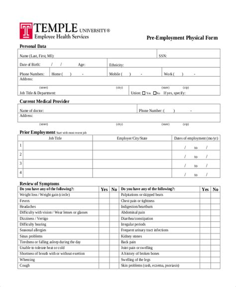 health physical form template sle physical form 14 free documents in doc pdf