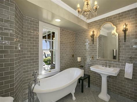 natural bathroom ideas pedastal tub grey brick tiles bathroom natural bathroom