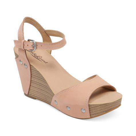 lucky brand marshha platform wedge sandals in beige blush