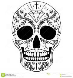 Day Of The Dead Calavera Outline by Black And White Sugar Skull Stock Vector Image 45450745