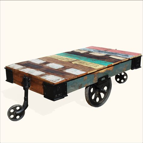rustic wood rolling factory cart industrial coffee table