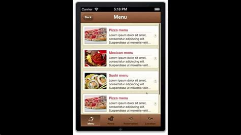 restaurant app template for iphone ios 6 0 source code