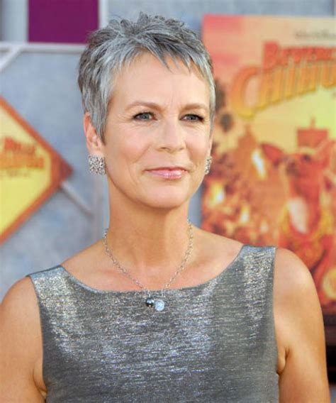 jamie lee curtis with silver hair classy and very short haircut 19 gray hairstyles haircuts pictures of gray hair on