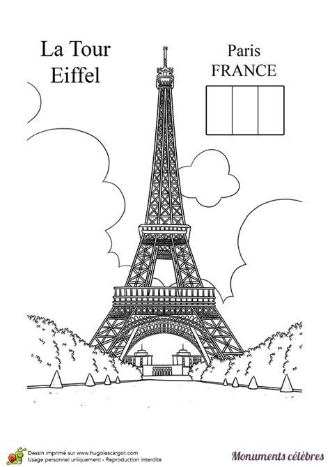 Cp Efel coloriage d un monument c 233 l 232 bre la tour eiffel