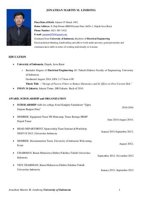 format cv beasiswa cv jonathan martin m teknik elektro universitas indonesia