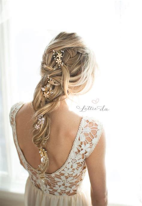 vine braid braided hairstyle for gold boho hair vine wedding headpiece bridal hair