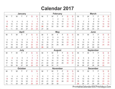 Printable Yearly Calendar 2017 With Holidays Blank Yearly Calendar 2017 Printable