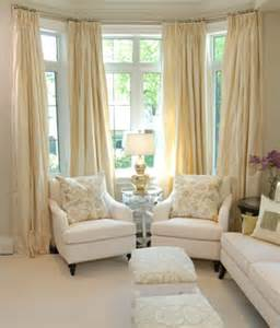 Curtains For Bay Windows Living Room by Yellow Silk Drapes Transitional Living Room