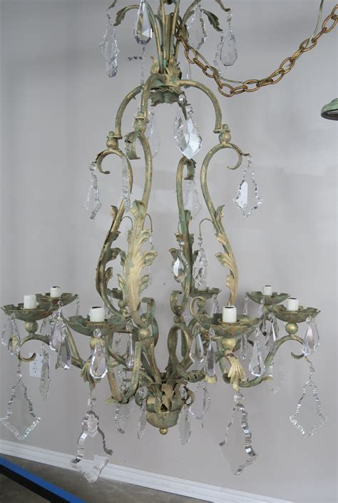 Wrought Iron Chandelier With Crystals Wrought Iron Painted Chandelier Levinson Antiques