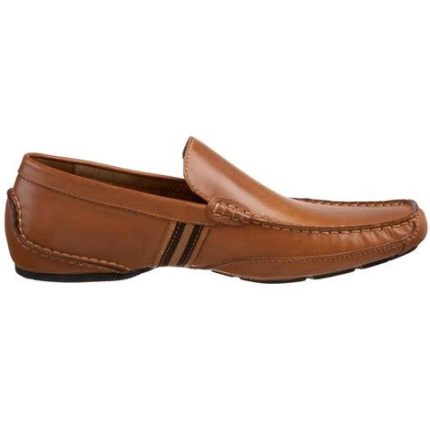 steve madden loafers for steve madden valyant two stripe leather loafers in brown