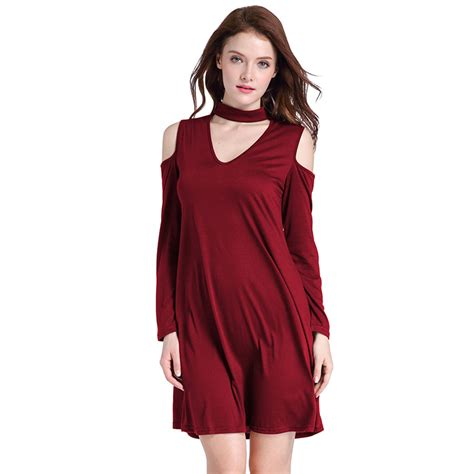 Cold Shoulder Sleeve T Shirt s cold shoulder sleeve choker t shirt dress n14498