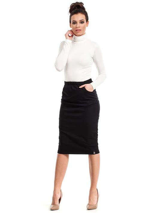 black bodycon fit midi skirt