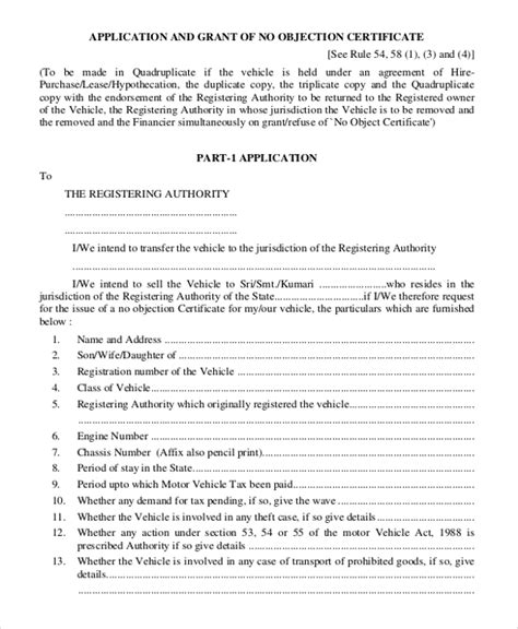 no objection certificate template 12 free word pdf document