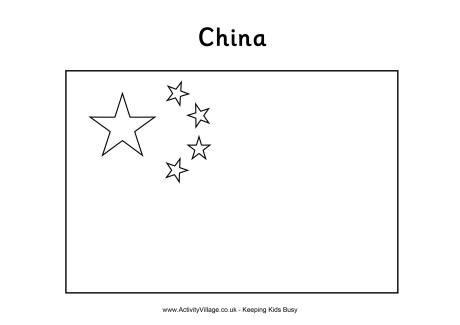 China flag colouring page