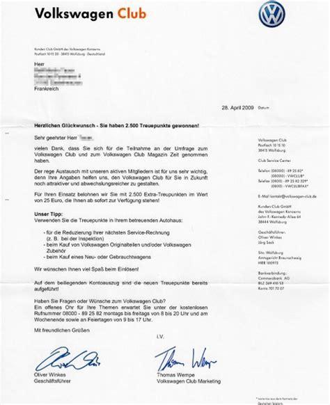 Anschreiben Initiativbewerbung Volkswagen Geschenkt Volkswagen Club Verteilt 2 500 Punkte Passat Cc Tdi Dsg