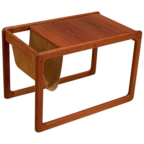 End Table Magazine Rack by Vintage Leather Magazine Rack Side Table For Sale At 1stdibs