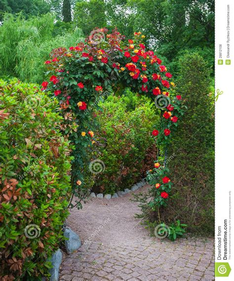 Arbor Bench Plans rose arch in english country garden royalty free stock