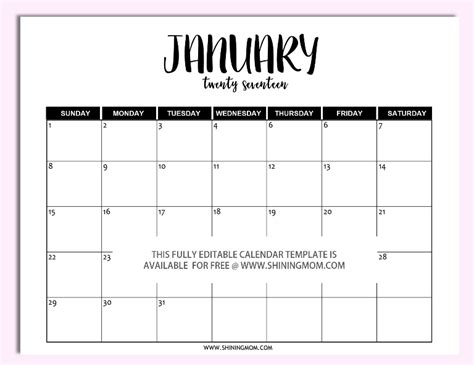 printable calendar microsoft free printable fully editable 2017 calendar templates in