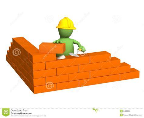 3d puppet builder building a brick wall stock