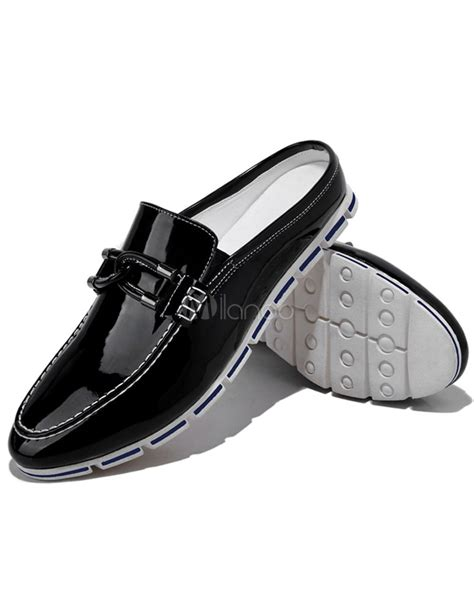 popular shellac leather strappy backless mens loafer shoes
