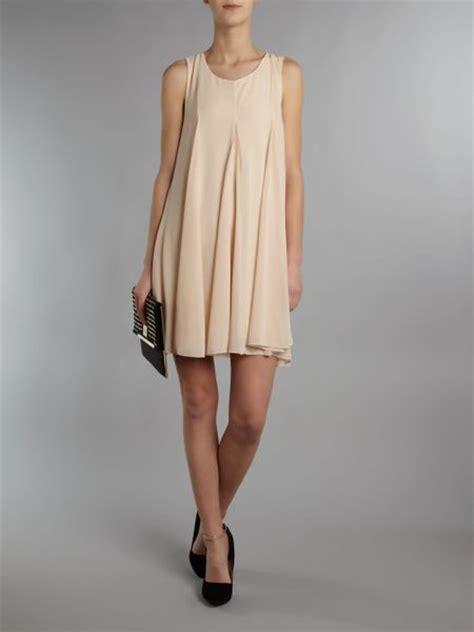 beige swing dress tfnc chiffon full swing dress in beige nude lyst