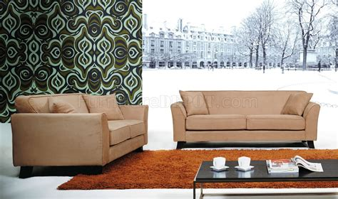 sofa and loveseat set in beige microfiber upholstery