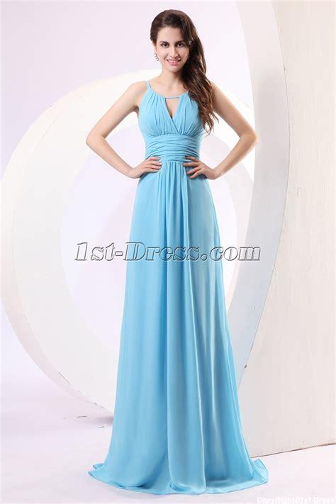 light blue spaghetti strap blue spaghetti straps chiffon military prom dress 1st
