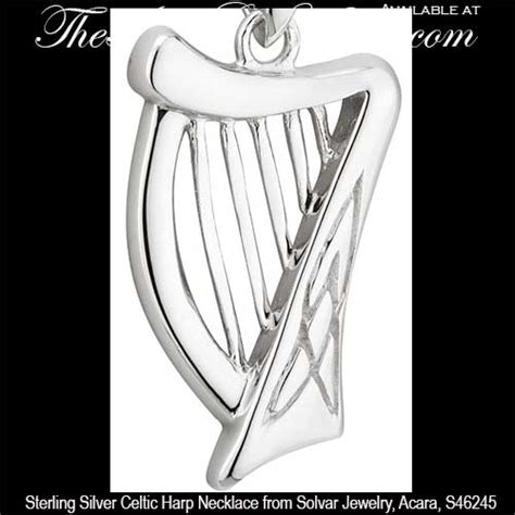 Silver L Harp by Sterling Silver Harp Necklace With Small