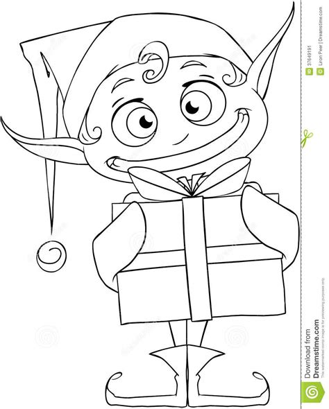 coloring page elf with present christmas elf holding a present coloring page stock image