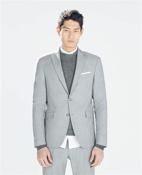 grey blazer zara grey wool blazer in gray for men grey lyst