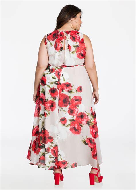 Tie Waist Floral Chiffon Dress plus size dresses floral chiffon tie waist maxi