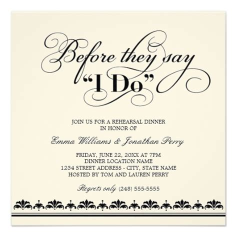 white wedding invitations wedding rehearsal dinner
